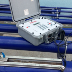 Flow meter calibration using ultrasonic flow meter master calibrator